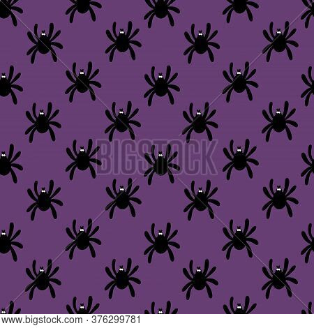 Seamless Pattern Of Silhouette Of A Spider On A Purple Background. Cute Spider Pattern For Textile,