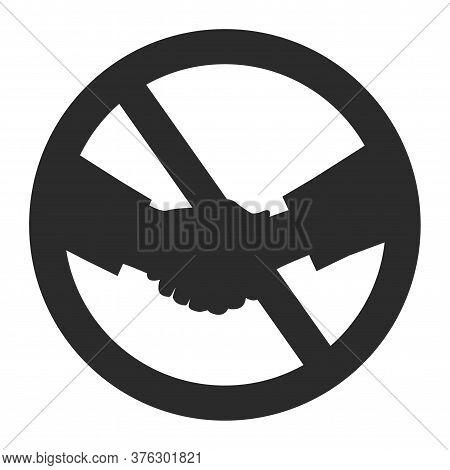 Handshake Forbidden Black Icon. No Shake Hands Isolated Sign Covid-19