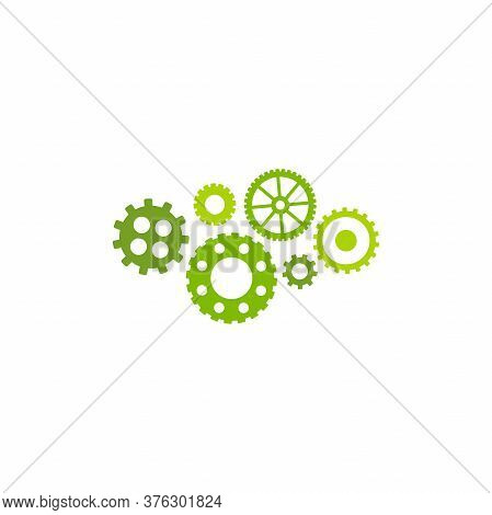 Gears Icon Isolated On White Background. Combination Of Pinions Of Bright Green Colors.