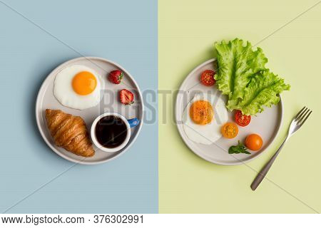 Two Homemade Different Breakfast With Fried Egg At Green And Blue Backgrounds. Minimal Compare Of Tw