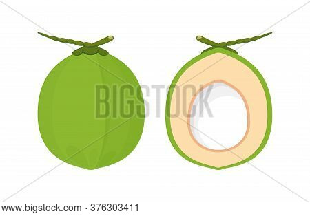 Coconut Fresh Green Isolated On White, Illustration Coconut Half Sliced For Healthy Food Menu Fruit