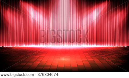 Abstract Futuristic Background Of Empty Stage With Red Curtain And Lighting Spotlgiht Stage Backgrou