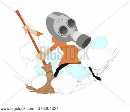 Dust Cloud And Woman With A Big Broom Illustration. Cartoon Woman In The Gas Mask Sweeps Dust Using