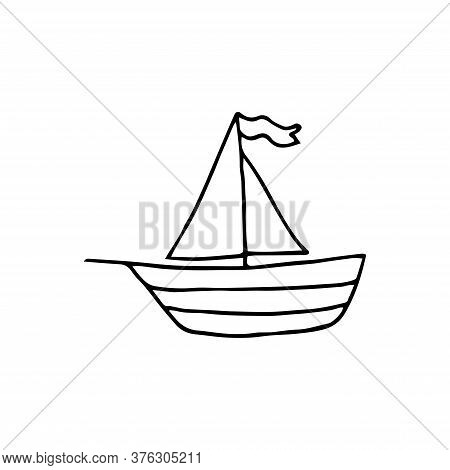 The Ship Is Drawn By Hand In Doodle Style, Coloring. Isolated On A White Background, Logo. Ship Isol