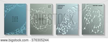 Biotechnology And Neuroscience Vector Covers With Neuron Cells Structure. Overlapping Curve Lines Re