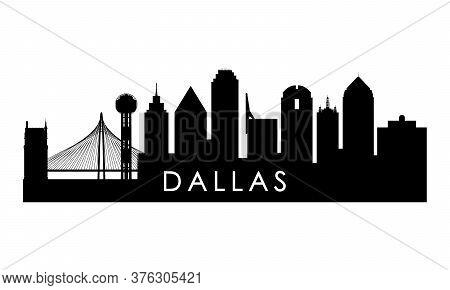 Dallas Skyline Silhouette. Black Dallas City Design Isolated On White Background.