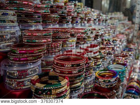 Beautiful Colorful Bangles At Katra Main Market Of Jammu