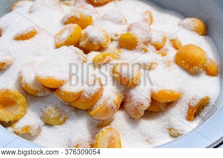 Cooking Apricot Jam. Apricots In Sugar.cooking Apricot Jam. Apricots In Sugar