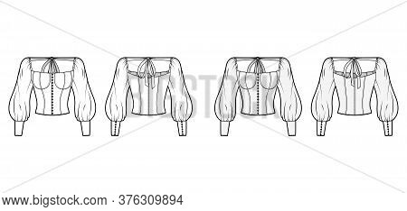 Victorian Button-embellished Blouse Technical Fashion Illustration With Corset-style Body, Billowy S