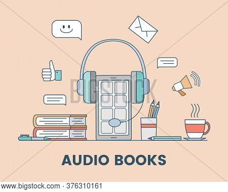 Audio Book Cartoon Outline Banner Concept. Smartphone With Headphones, Books, Smiling Icon, Like Sig