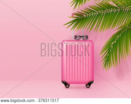 Suitcase With Sunglasses And Palm Leaves On Pastel Pink Background. Summer Holidays, Vacation And Tr