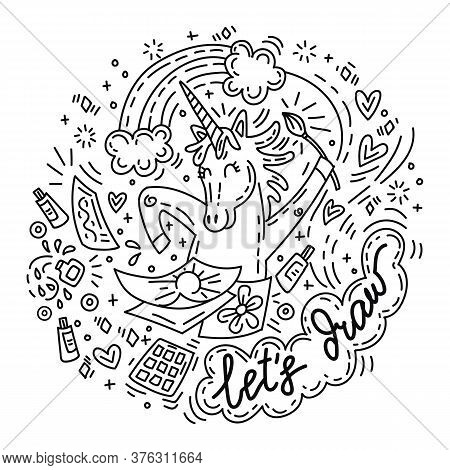 Funny Cute Unicorn In Good Mood Enjoy Drawing. Vector Humor Character In Doodle Style. For Stickers,