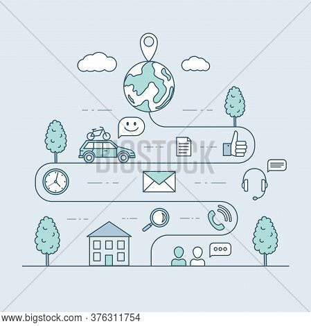 Traveling By Car Vector Cartoon Outline Illustration. Road Map And Journey Route From House, Winding