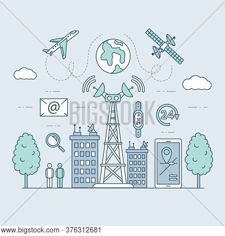 Transmission Cellular Tower Or Mobile Communications Tower On City Landscape. Smartwatch, Smartphone