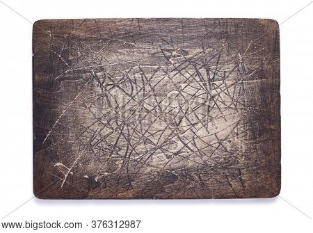aged wooden nameplate or wall sign isolated on white background