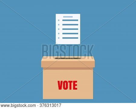 Election Vote Box With Voting Blanc Paper, Ballot Campaign. Vector Isolated Illustration
