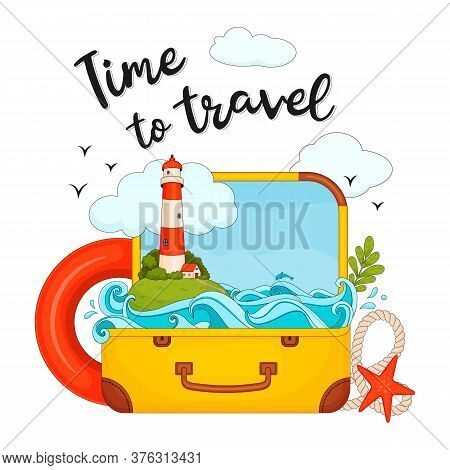 Time To Travel. Vector Illustration On A White Background. Suitcase, Sea Inside The Suitcase, Island
