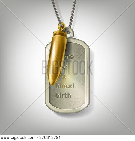 Personalized Engraved Army Tag Necklace With A Golden Bullet Hanging On A Steel Ball Chain Isolated