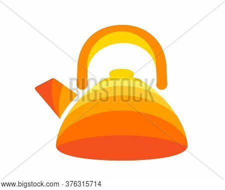Teapot Steel Vector Icon Flat Style. Orange And Yellow Bee Kettle On Isolated Background. Warm Comfo