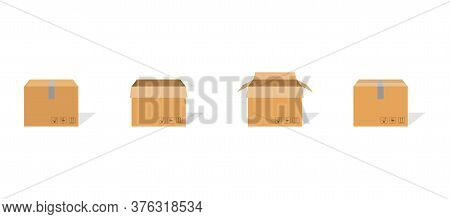 Carton Box Container Set. Package Delivery Parcel With Scotch And Fragile Sign. Open And Closed Cart