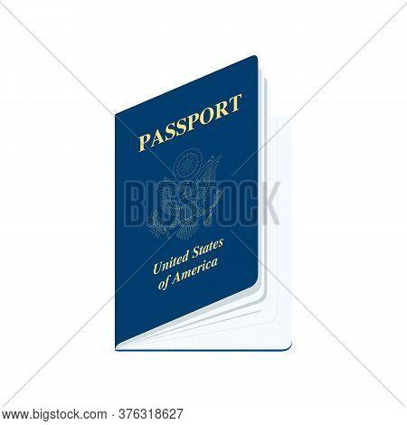United States Of America Passport Realistic Vector Illustration
