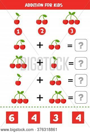 Addition With Cute Cartoon Cherries. Math Game.