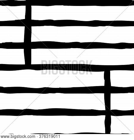 Fence Posts Grid Black And White Lines Seamless Pattern Vertical And Horizontal Hand Drawn Doodle Un
