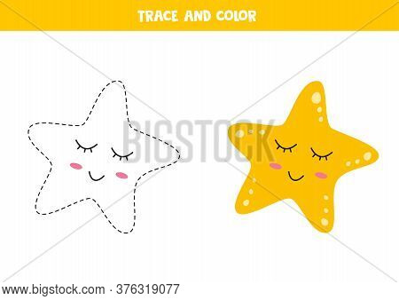 Trace And Color Cute Kawaii Sea Star. Writing Skills.