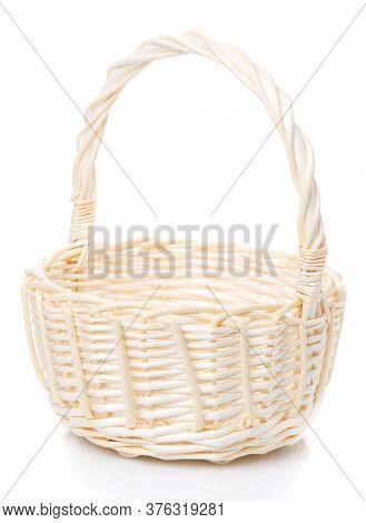 Beautiful Handmade Wicker Basket Isolated On White.