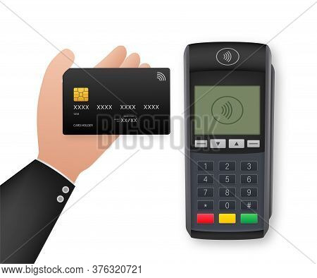 Contactless Payment Methods Mobile Smart Phone And Wireless Pos Terminal Realistic Style. Vector Sto