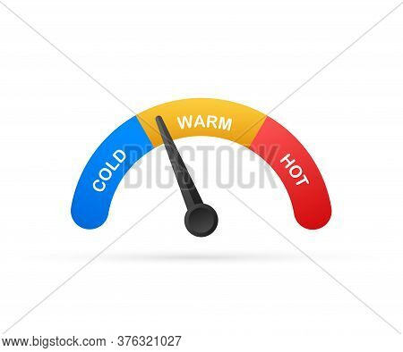 Modern Thermometer, Summer Background. Thermometer In Cartoon Style. Thermostat. Vector Stock Illust