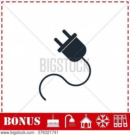 Power Cord Icon Flat. Simple Vector Symbol And Bonus Icon