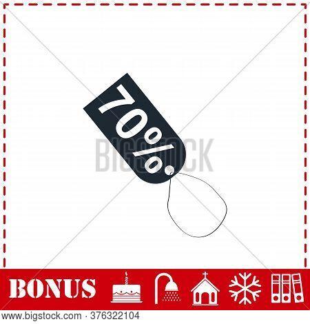 70 Percent Discount Icon Flat. Simple Vector Symbol And Bonus Icon