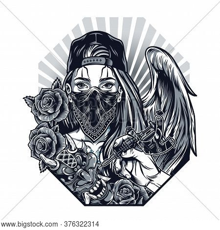 Vintage Monochrome Chicano Tattoo Concept With Hand Holding Tattoo Machine Demon Mask Roses Girl Wit