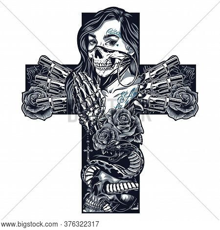 Vintage Monochrome Chicano Tattoo Concept In Cross Shape With Girl In Scary Mask Skeleton Hands Hold
