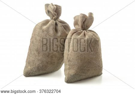 A Bag Of Coarse Fabric On A White Background (blank For Your Photo Manipulations / Collages)