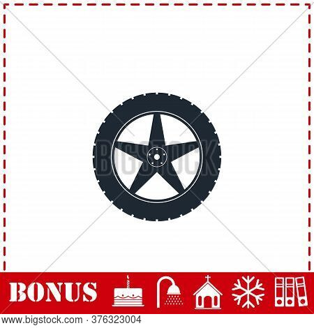 Tire Icon Flat. Simple Vector Symbol And Bonus Icon