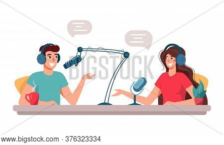 Cute Man And Woman Are Djs On The Radio. Leading Podcasts With A Microphone Talking Live In The Stud