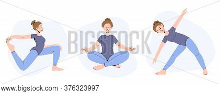 Set Of Female Cartoon Characters Demonstrating Various Yoga Poses By Woman. Vector Illustration Of A