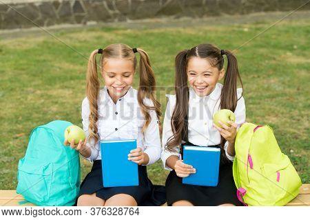 Knowledge Is Food For Mind. Happy Children Eat Green Apples. Organic Fruit. School Break. Healthy Fo