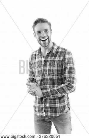 Sparkly Personality. Happy Man Isolated On White. Handsome Man In Casual Style. Young Man With Charm
