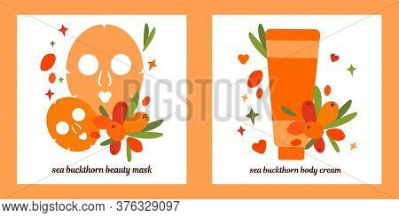 Set Of Two Illustrations.  Tube Of Cream And Masks For Face Skin. Natural Skin Care Based On Sea Buc