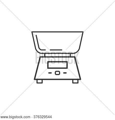 Electronic Balance Kitchen Household Domestic Appliances Thin Line Icon Outline Vector Symbol. Elect