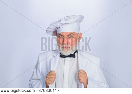 Old Bearded Cook. Cooking Concept. Professional Chef Man. Happy Bearded Chef, Cook Or Baker. Male Ch