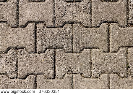 Brick Pavement Of The Romanian Footpath Pattern, Top View, For Background