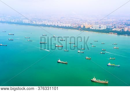Aerial View Of Cargo Ships Loaded With Containers At Sea, International Import Export Logistics, Sin