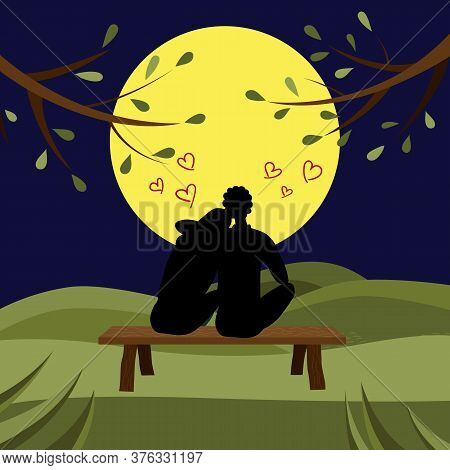 Concept Of Romantic Relationship. Black Silhouettes Of Man And Woman Sitting On Bench At Night And L