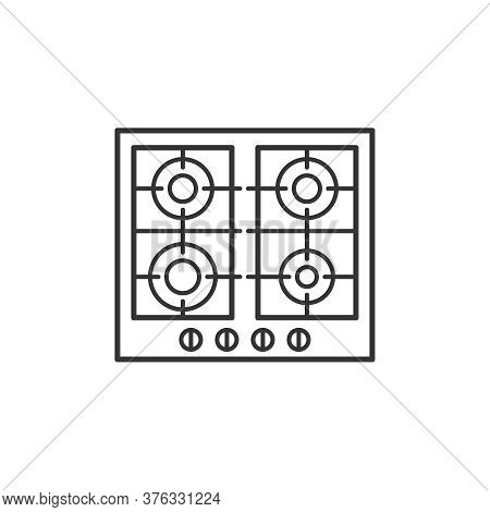 Gas Hob Kitchen Household Domestic Appliances Thin Line Icon Outline Vector Symbol. Gas Cooktop Line
