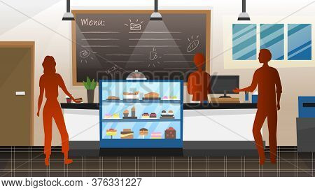 Concept Of Public Catering. Silhouettes Of Man And Woman Order Food In Restaurant Or Bistro. Modern