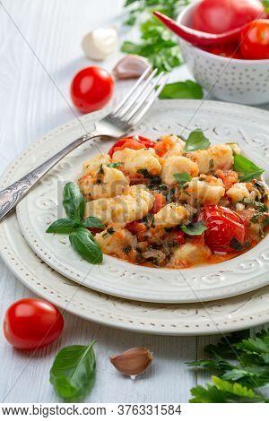 Potato Gnocchi In Tomato Sauce. Italian Cuisine.